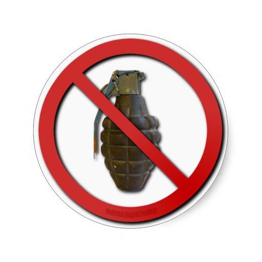 No Grenades Stickers