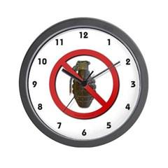 No Grenades Wall Clock