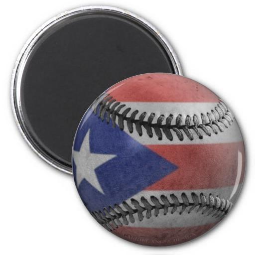 Puerto Rican Baseball Magnet