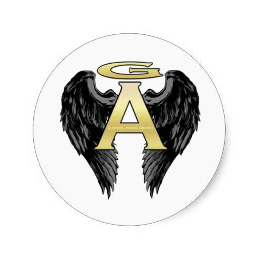 Gabriel Angel Design Wings Logo Round Stickers
