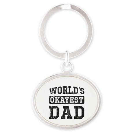 Vintage World's Okayest Dad Oval Keychain
