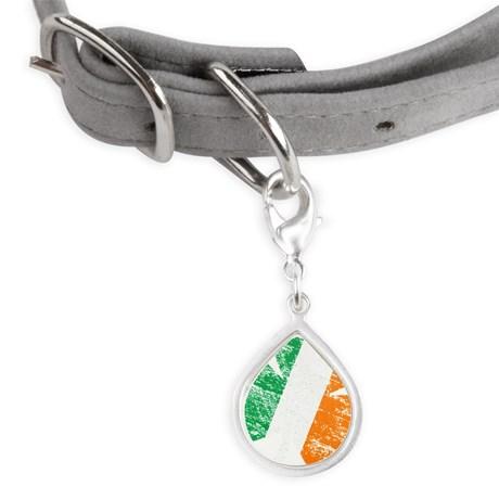 Vintage Distressed Irish Fl Small Teardrop Pet Tag