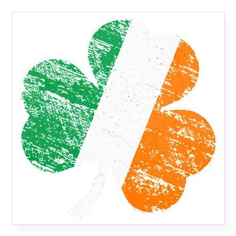"Vintage Distressed Irish Fl Square Sticker 3"" x 3"""