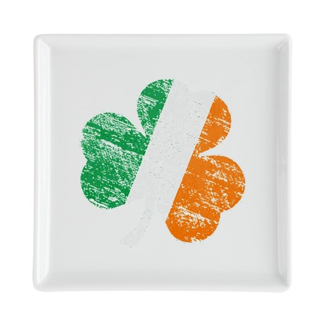 Vintage Distressed Irish Fla Square Cocktail Plate