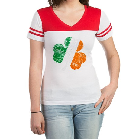 Vintage Distressed Irish Flag Jr. Football T-Shirt
