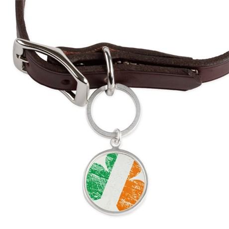 Vintage Distressed Irish Flag Large Round Pet Tag