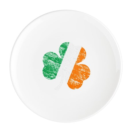 Vintage Distressed Irish Flag Round Cocktail Plate