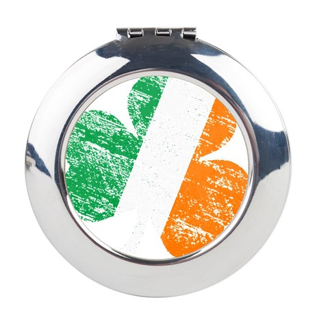 Vintage Distressed Irish Flag Round Compact Mirror