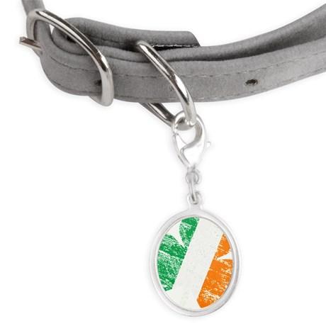 Vintage Distressed Irish Flag S Small Oval Pet Tag