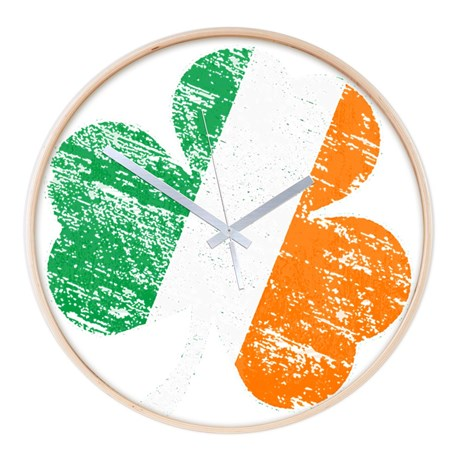 Vintage Distressed Irish Flag Sh Wall Clock
