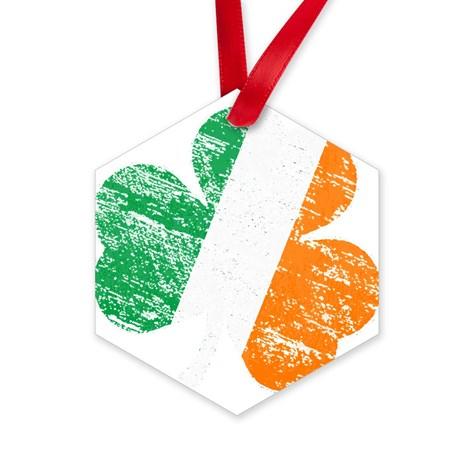 Vintage Distressed Irish Flag Sha Ornament