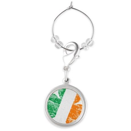 Vintage Distressed Irish Flag Sha Round Wine Charm
