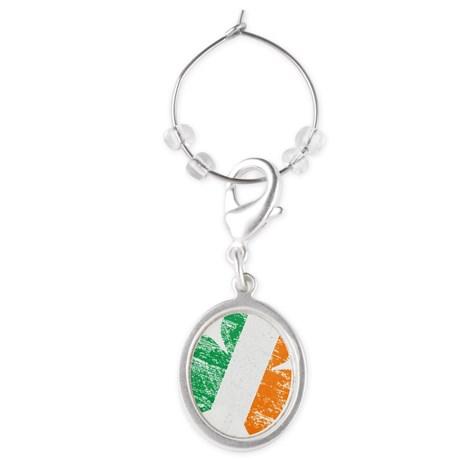 Vintage Distressed Irish Flag Sham Oval Wine Charm