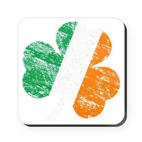 Vintage Distressed Irish Flag Shamr Cork Coaster