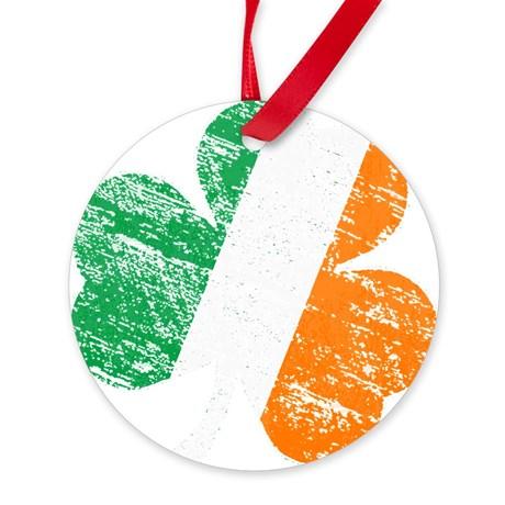 Vintage Distressed Irish Flag Shamr Ornament