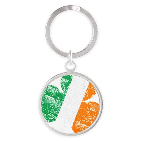 Vintage Distressed Irish Flag Shamr Round Keychain