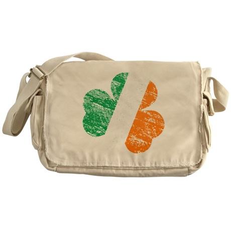 Vintage Distressed Irish Flag Shamro Messenger Bag
