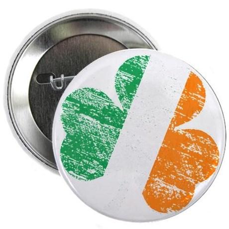 """Vintage Distressed Irish Flag Shamroc 2.25"""" Button"""