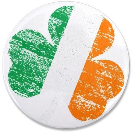 "Vintage Distressed Irish Flag Shamrock 3.5"" Button"