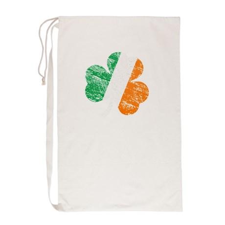 Vintage Distressed Irish Flag Shamrock Laundry Bag