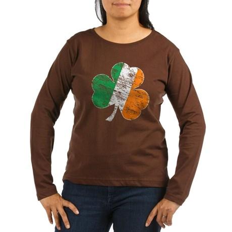 Vintage Distressed Irish Flag Shamrock Long Sleeve