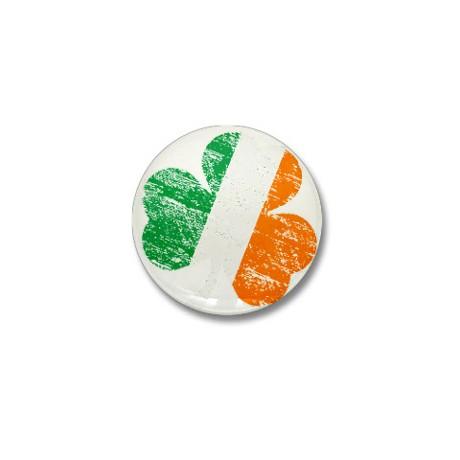 Vintage Distressed Irish Flag Shamrock Mini Button