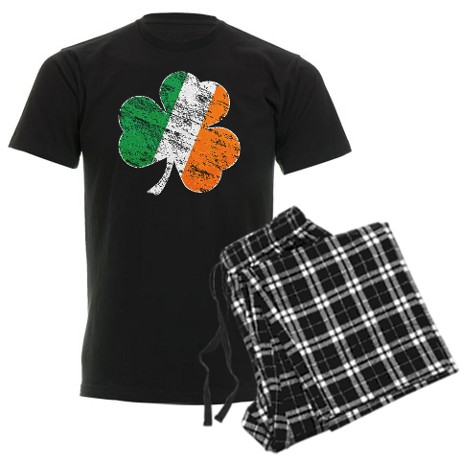 Vintage Distressed Irish Flag Shamrock Pajamas