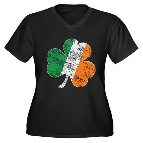 Vintage Distressed Irish Flag Shamrock Plus Size T