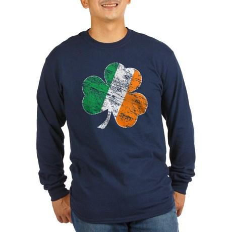 Vintage Distressed Irish Flag Shamrock T