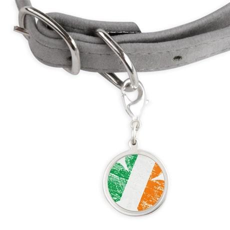 Vintage Distressed Irish Flag Small Round Pet Tag