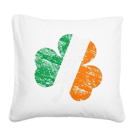 Vintage Distressed Irish Flag Square Canvas Pillow