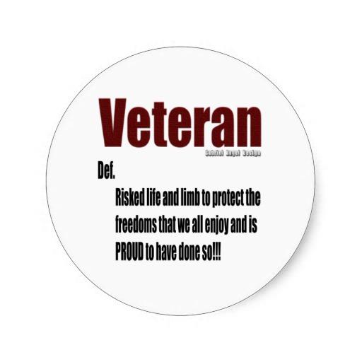 Veteran Definition Classic Round Sticker