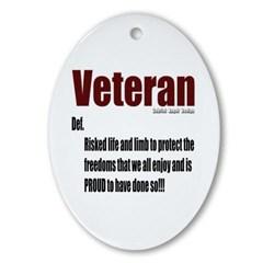 Veteran Definition Oval Ornament