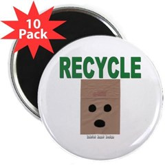 "Recycle Paper Bags 2.25"" Magnet (10 pack)"