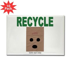 Recycle Paper Bags Rectangle Magnet (10 pack)