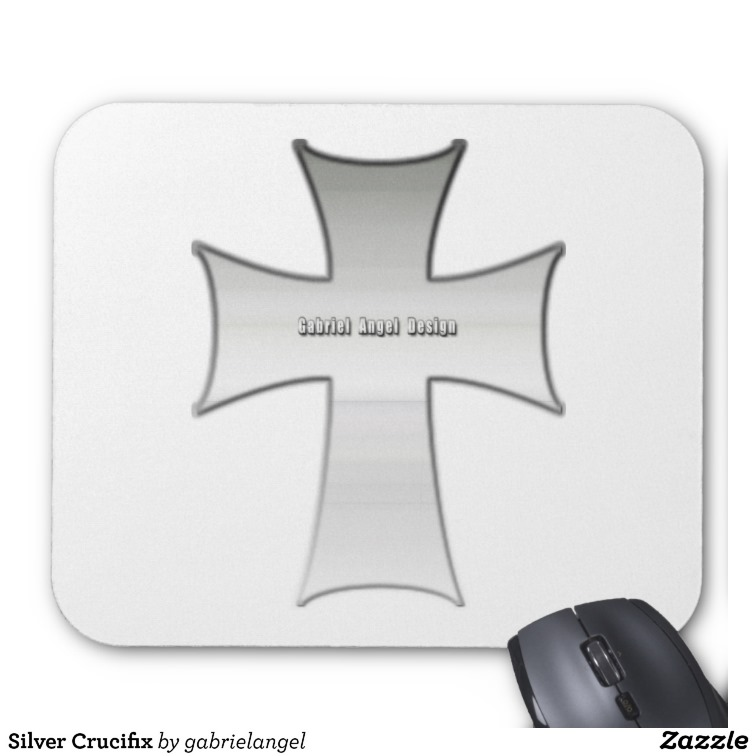Silver Crucifix Mouse Pads