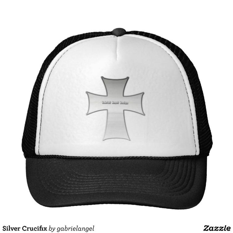 Silver Crucifix Trucker Hat