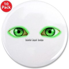 "Envy Green Eyes 3.5"" Button (10 pack)"