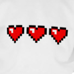 3 Red Pixel Hearts